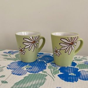 Boho daisy bright green coffee mugs